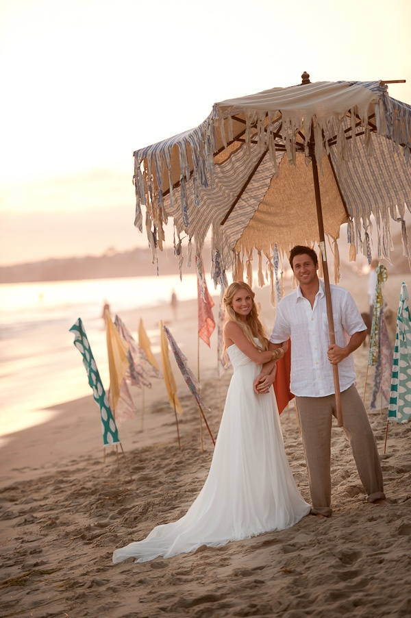 Cultural Surf Sand Wedding - Beach umbrella instead of an arch, or just for photos