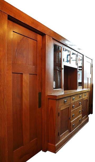 Gorgeous Craftsman Built In Buffet Sliding Doors Too