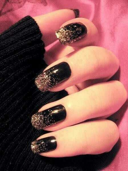 Black w/gold glitter faded tips.