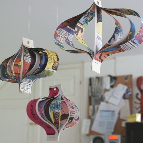 I <3 comic books, and I bet these could be made to look like hearts, too. These would be good in my craft room, I bet.