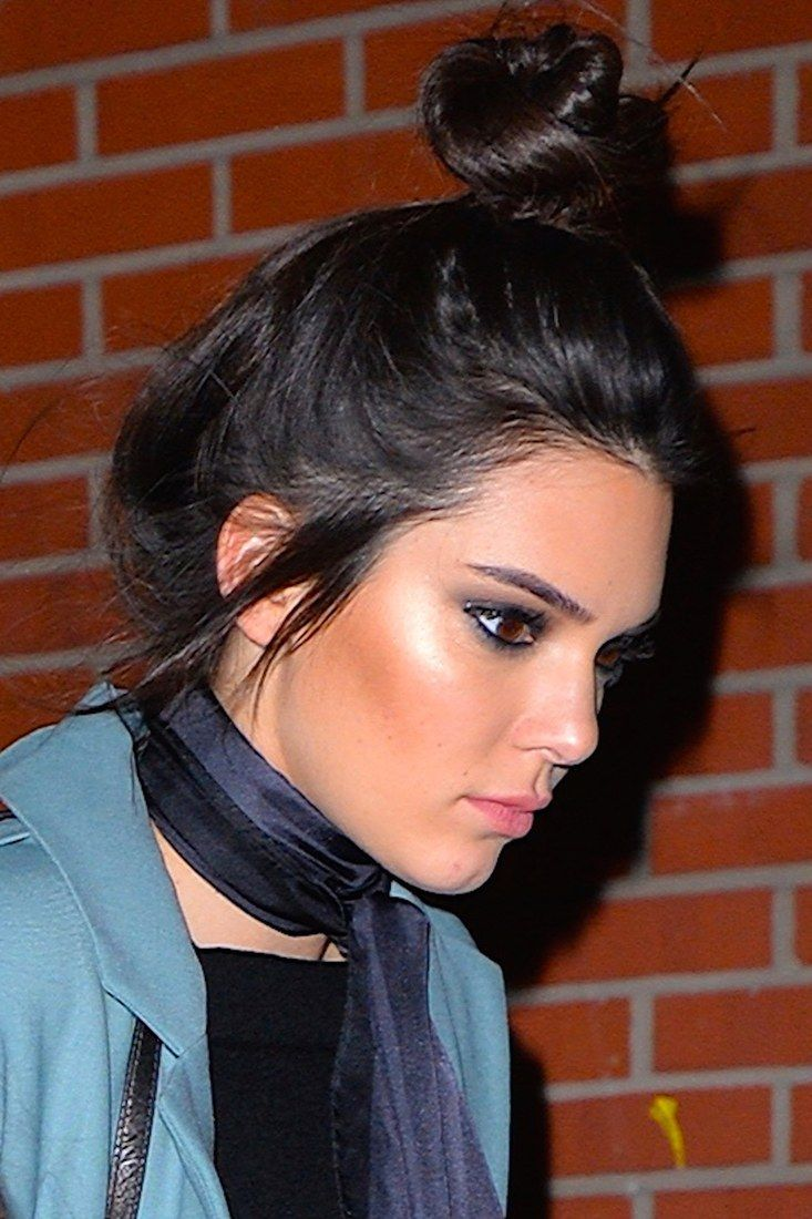Kendall Jenner's simple topknot is ideal if your hair falls on the finer side, as it only takes seconds to toss up, but still appears polished.