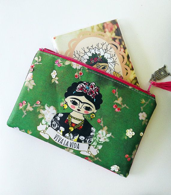 Frida Kahlo purse original illustration. por Chunchitos en Etsy