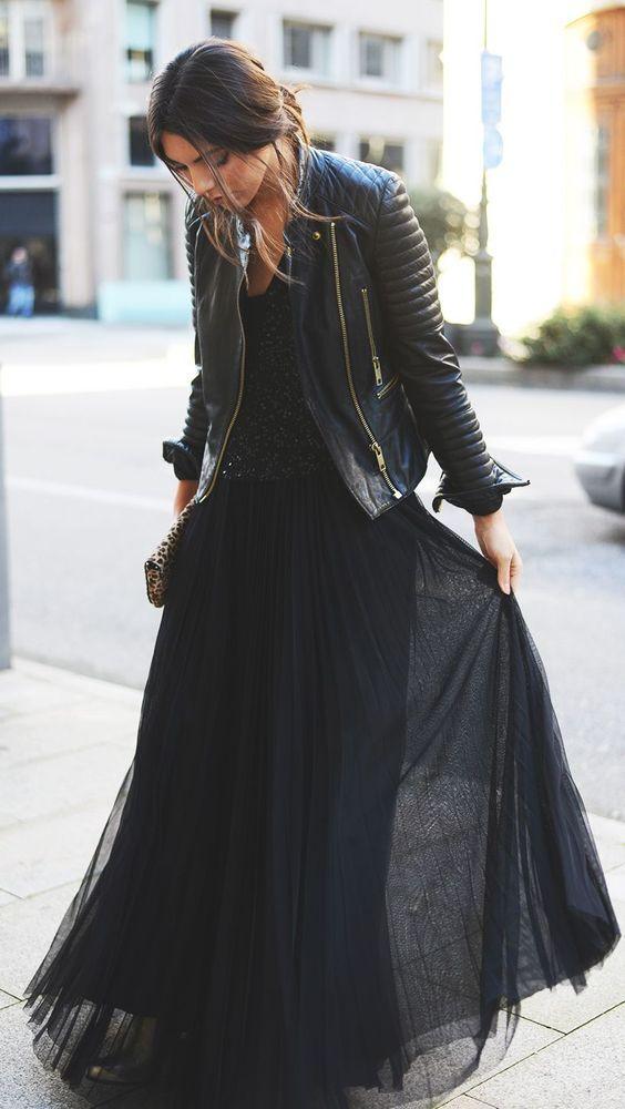 ライダースジャケット ドレスアップ ロングドレス