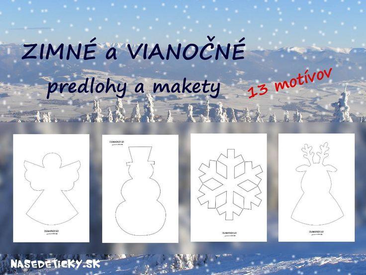 Zimné a vianočné predlohy a makety pre deti na vytlačenie zadarmo.