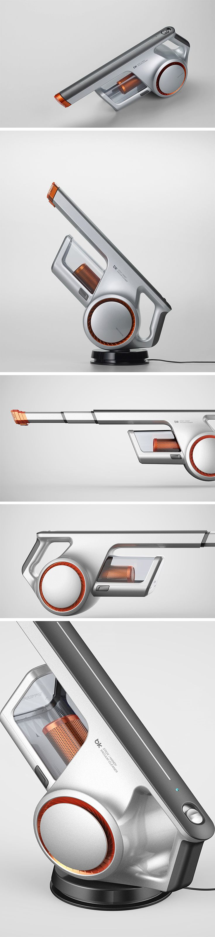The Handy Vacuum Cleaner designed by Myeonghoon Lee & Yubin Choi is edgy, coming off as intimidating almost, something that you would pick up in the toughest of situations and never bat an eye. This handheld vacuum is a dust-royer. The cyclone and motor located just under the handle, have a visual appearance like that of a futuristic concept bike, adding a subtle flair with the orange highlight.