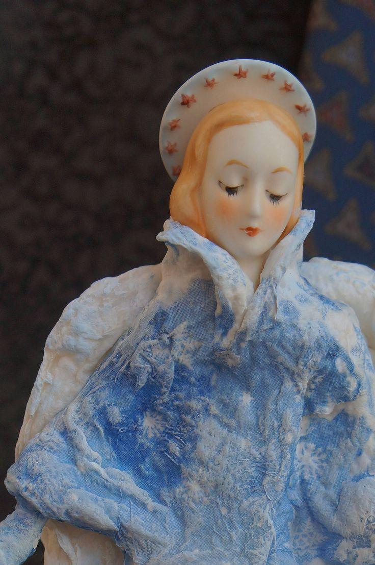 Angel Cotton Batting Christmas Ornament - Spun Cotton Vintage Style - Girl Hummel - Handmade Personalized Aged Cotton Batting Ornament by RussianshawlRustic on Etsy