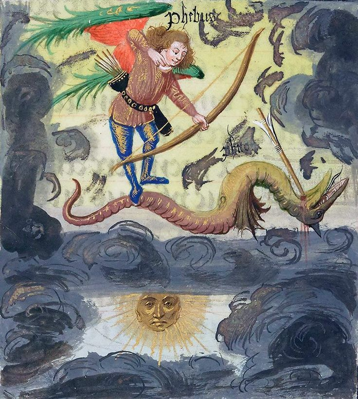 Apollo and Python  Ovide Moralisé in prose, Bruges CA. 1470-1480 (BNF, French 137, fol. 8 R)  https://www.instagram.com/discardingimages/
