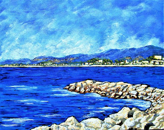 Brightscapes: The Way To Beauty  Beach at Cannes https://www.etsy.com/listing/185873699/beach-at-cannes-original-acrylic  The scent and mild breeze coming off the sea makes the hot sun tolerable. We spent the day looking at the incredible villas, watching fancy people and luxury cars from the cafe, and buying fashionable sunglasses for the beach. Enormous yachts gently glide through nearby waters as we enjoy our stroll along the shoreline. Just being here is glamorous.