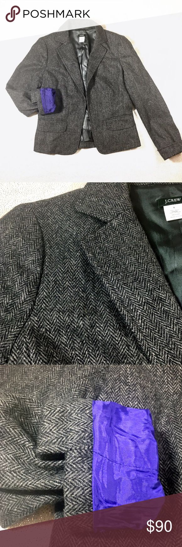 J.Crew Ecole Herringbone Wool Jacket We all love a little flash and sparkle, but at the end of the day-what's most important is 🌮 tacos. Next most important: wardrobe staples that never, ever get dated, out of style and go with everything. J. Crew is like: Hold my drink...This classic J.Crew Ecole jacket is 100% wool, fully lined. Inside lining is a gorgeous royal purple. Hidden front hook clasp to close J. Crew Jackets & Coats