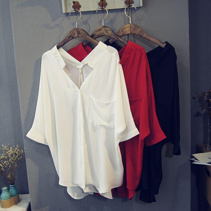 トップス - レディースシャツブラウス トップス 7分袖 無地 透け感 ボタン サイズあり3色