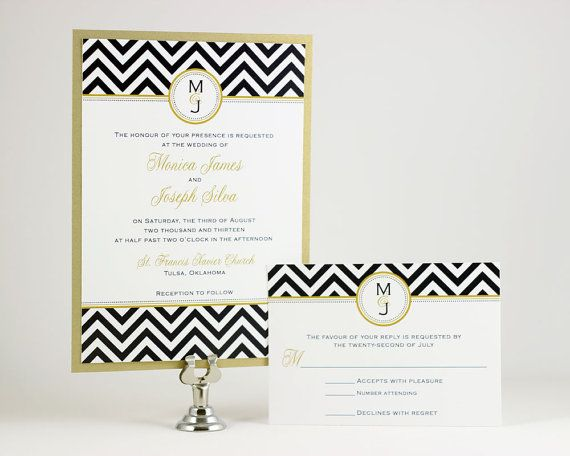 Chevron Wedding Invitations Sample