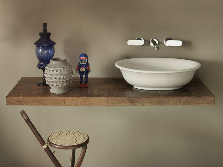Piano lavabo in legno massello SOLID   CERAMICA FLAMINIA da cm 80 a cm 200 x 46 x h 6