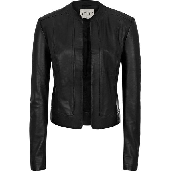 Reiss Bryony Cropped Leather Jacket ($615) ❤ liked on Polyvore