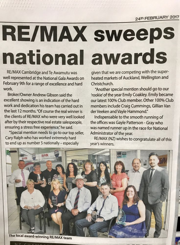 Yet another successful year climbing the ranks to achieve No. 4 Salesperson for RE/MAX New Zealand 2016, moving No. 7 RE/MAX New Zealand 2015.