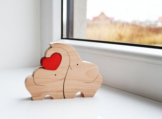 Wooden love elephants Puzzle Toy Wooden Puzzle by LadyEvaDESIGN