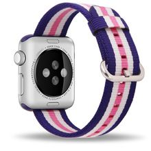 Band For Apple Watch Pink Stripes Woven Nylon Fabric Buckle Watchband 38mm 42mm Sport Strap For iWatch 2 Watches Accessories(China (Mainland))
