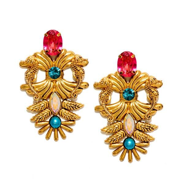 $184 HAUTEEDIT.COM - 18 Kt Gold Plated Brass Swarovski Earrings - Sea Horse Design. Valliyan by Nitya Arora. An exquisite range of sculptural, one of a kind jewellery handcrafted in India with semi-precious stones and Swarovski crystals to give pieces life and texture.