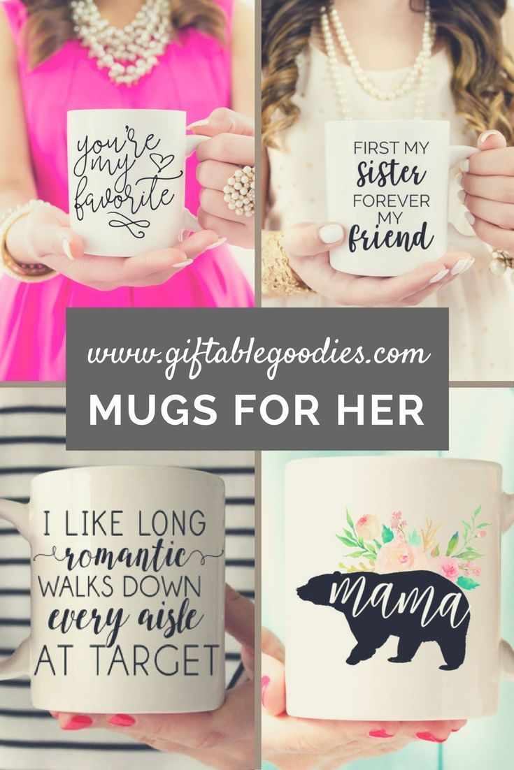 Shop a selection of cute mug gifts for her. All only $14.95 http://www.giftablegoodies.com