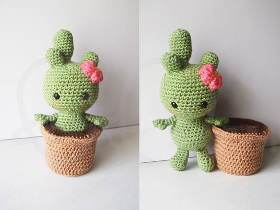 """Cactalina cactus crochet PATTERN, removable pot, crochet amigurumi, crochet cactus doll, amigurumi cactus, cactus toy, handmade, pincushion. Use the coupon code, """"PIN10"""" for 10%off!"""