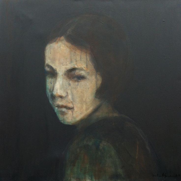 Portrait of a girl 1, 2017 (60 x 60 cm) Art by Cecilie Nyman