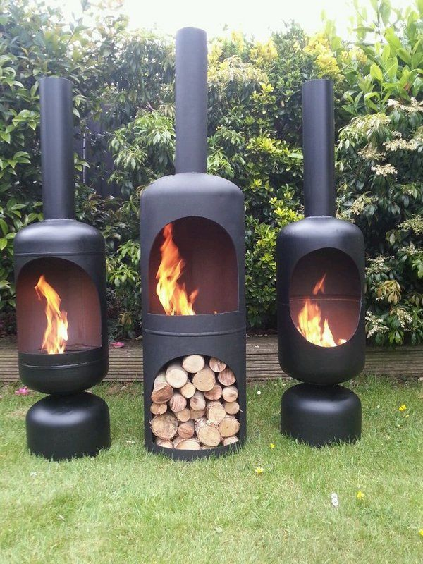 Recycle water heaters or propane tanks ~ make sure you wont kill yourself doing this. Old used kegs might work too.  wood burning iron chiminea garden fireplace ideas