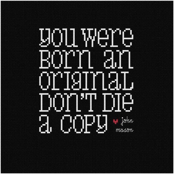 You Were Born an Original Cross Stitch Pattern    / awesome font...