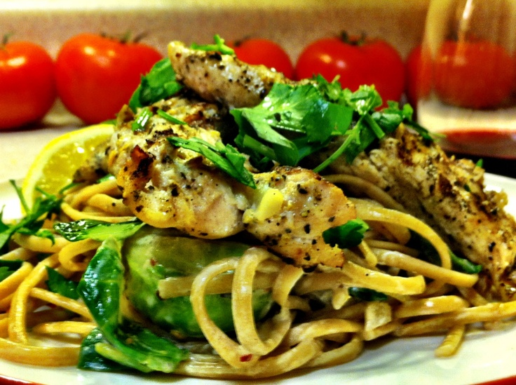 ... Cream Fettuccine with Brussels Sprouts, Mushrooms and Grilled Chicken
