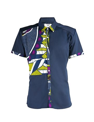 Men's African print shirt-Short sleeve Slim fit shirt with real wax African print contrast front block. Colour: Navy 80% Cotton 20% Nylon Machine washable 30 degrees reduced spin Please note that the appearance of motifs may at times differ slightly from photographed image. This product has been made with TLC [...]