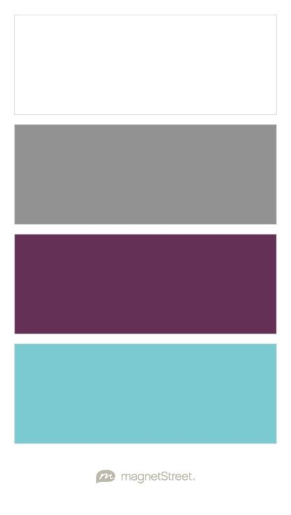 White, Classic Gray, Eggplant, and Turquoise Wedding Color Palette - custom color palette created at MagnetStreet.com