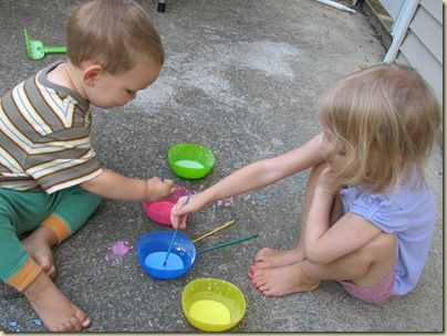 Easy homemade colorful, washable sidewalk paint!: Cornstarch, Homemade Sidewalks Paintings, Sidewalk Paint, Washabl Paintings, Body Paintings, Water Color, Summer Activities, Adorable Baby, 20090817 0653
