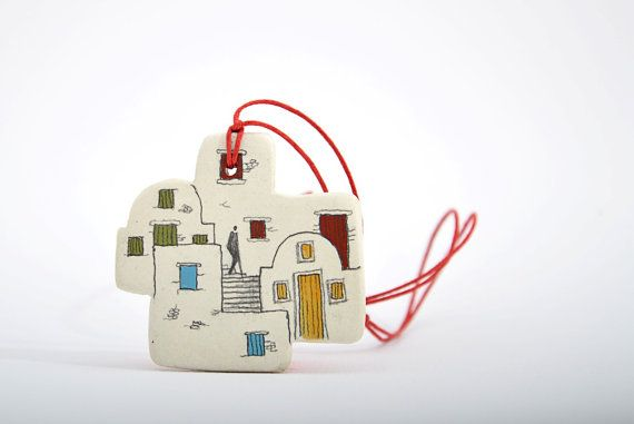 House necklace,Santorini Greece,White clay necklace,Ceramic necklace,summer gifts,Architecture gifts,Handmade jewelry,Art necklace