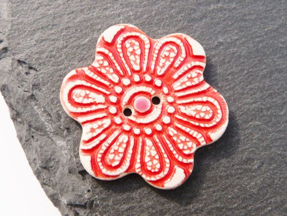 Ceramic Button Flower Shape With Red Indian by craftysewnsews