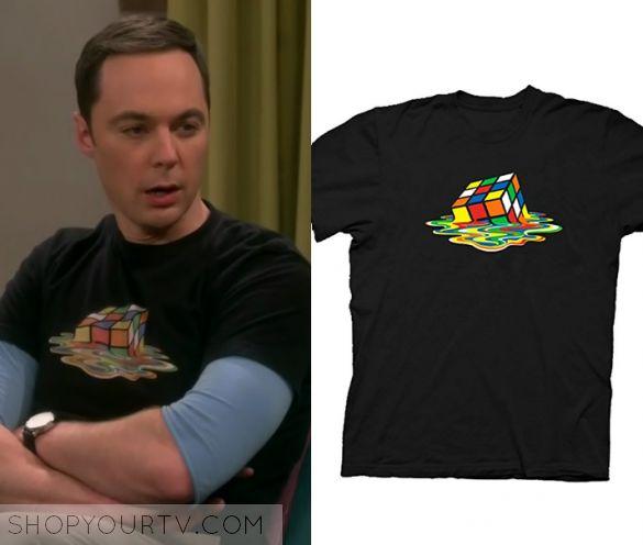 The Big Bang Theory: Season 10 Episode 22 Sheldon's Rubiks Cube Tee | Shop Your TV Sheldon Cooper (Jim Parsons) wears this black Rubrik's cube tee in this week's episode of The Big Bang Theory. It is the Rubik's Cube Melting Tee.