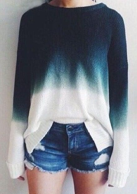 Retro casual knit ombre sweater