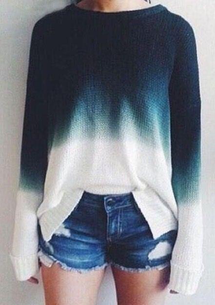 Retro casual knit ombre sweater