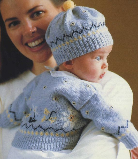 1999a5a94e8 Babies Fair Isle Cardigan and Hat Knitting Pattern PDF Baby Boys or Girls 0  - 3 and 3 - 6 months