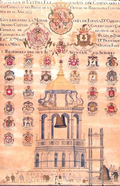 Els estaments nobiliaris    Representació del templet de la campana de les hores, 1763. S'hi representen, a més dels escuts de la monarquia, el capità general de Catalunya i el governador i corregidor de Barcelona, els de l'Ajuntament i de tots els seus membres, d'extracció nobiliària.