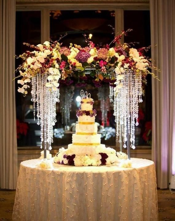 40inch Tall Table Centerpiece Cascading 3 Tiers Chandelier With Acrylic Pendant Wedding Cake Table Wedding Table Flower Centerpieces Wedding Table Centerpieces