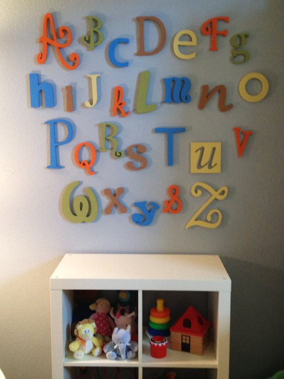 """Wooden Alphabet Letter Set -PAINTED- 5"""" to 10"""" letters-ABC Wall- ALphabet Wall decor- Hanging wall Letters-Nursery Letters-Alphabet letters, $95.99"""