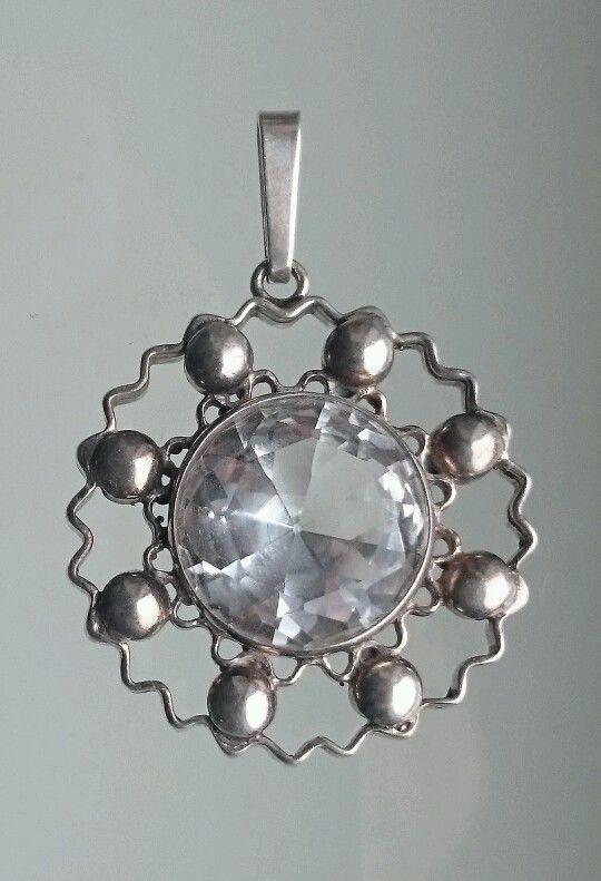 Arne Nordlie Vintage Norwegian Sterling Silver and Rock Crystal Pendant