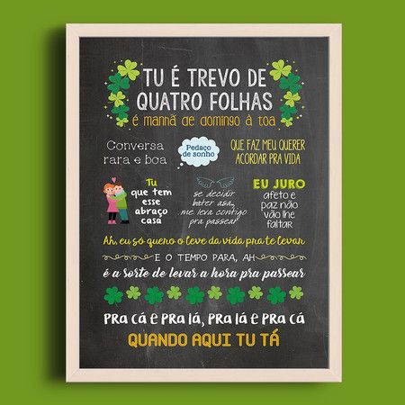 Trevo (Tu) | anavitoria feat. Tiago Iorc - A4 + Moldura - Sereiarte    #anavitoria #quadro #decor