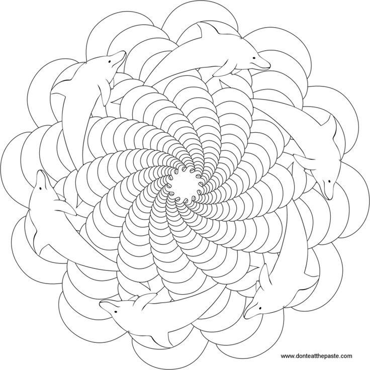 coloriage à imprimer mandala au motif dauphins en spirale surfant sur les vagues
