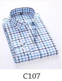 Main Push 2017 New Men's Shirt Brand Plaid Shirt Fashion Men's Plaid Shirt Casual Long-Sleeved Men's Dress Shirt Slim Dress Tops