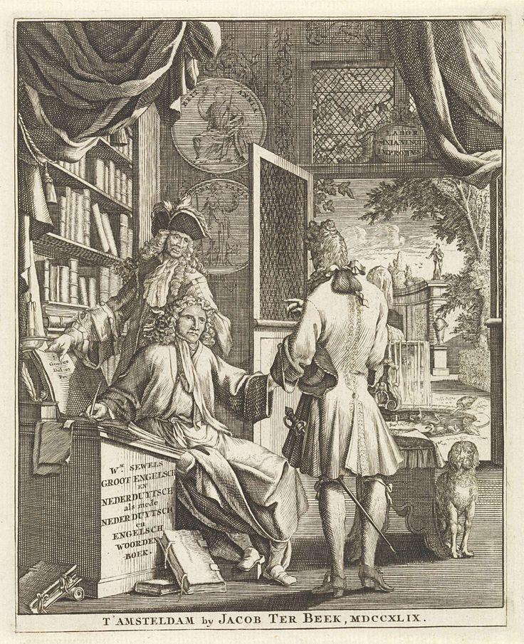Jan Goeree | Twee heren op bezoek bij een geleerde, Jan Goeree, Jacob ter Beek, 1749 | Twee heren in achttiende-eeuwse kleding praten met de geleerde Sewels in diens studeervertrek. Op de zijkant van het bureau is de titel van zijn boekwerk te lezen. Links een grote boekenkast. Rechts zit een hond. Op de achtergrond staat een deur open die leidt naar een achtertuin met een vijver.