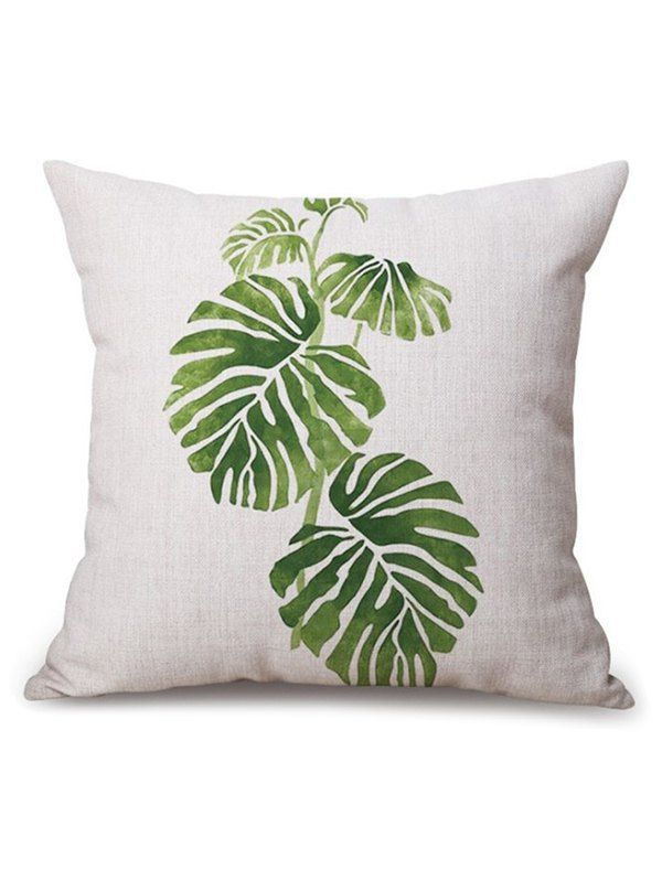 Leaf Printed Linen Sofa Seat Cushion Pillow Case - BEIGE