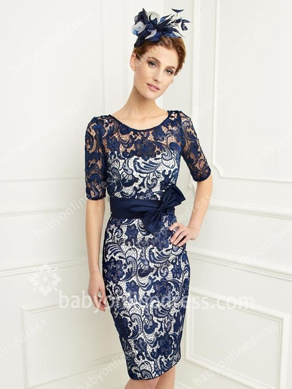 Mother Of The Bride Dresses Knee Length Lace Sleeve