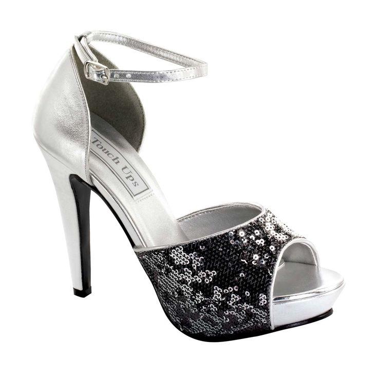 Touch Ups Debbie platform sandal - silver/pewter sequins