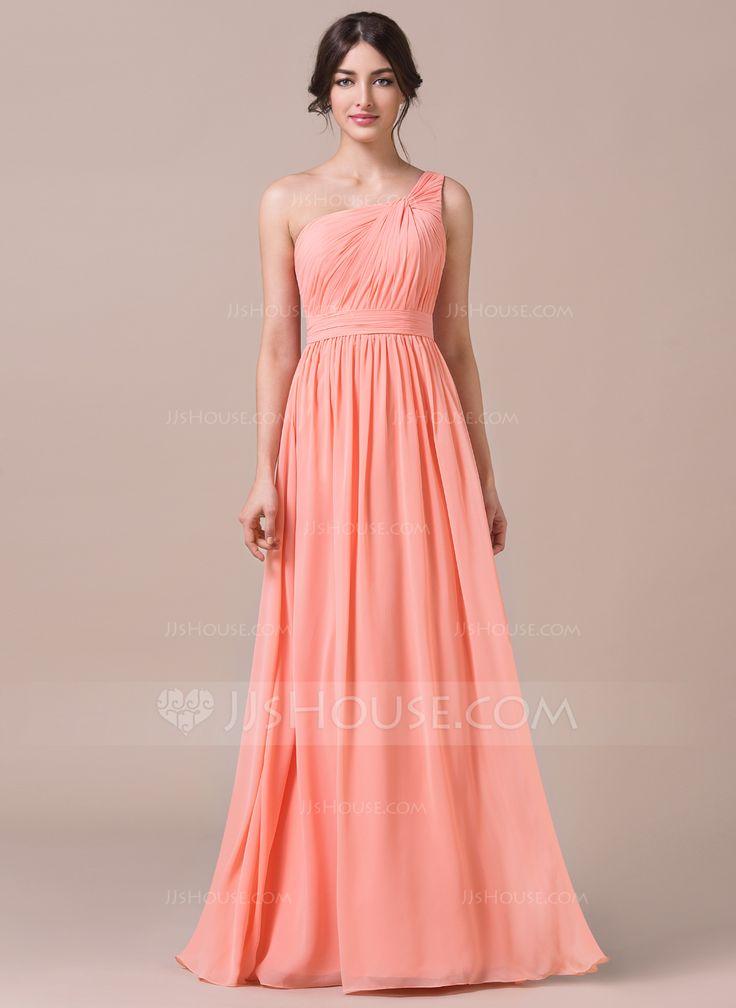 Vestidos princesa/ Formato A Um ombro Longos De chiffon Vestido de madrinha com Pregueado (007057740) - JJsHouse