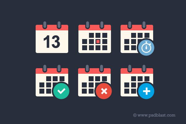 Awesome Free Flat Calendar Icon Set PSD Freebie. Vector shape Calendar Icons made in Photoshop. Event add delete progress. Editable and layered PSD.; File Resolution: 1280 x 1024 File Format: PSD ( vector) Keywords: flat design alert appointment calendar calendar icon add event plan planning  reminder schedule time Size: 42.1 KB (zip)