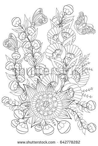 Hand drawn backdrop. Coloring book, page for adult and older children. Black and white abstract floral pattern. Vector illustration.